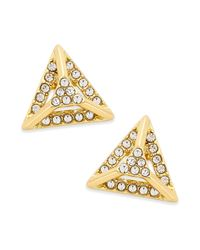 ABS By Allen Schwartz | Metallic Gold-tone Pave Pyramid Stud Earrings | Lyst