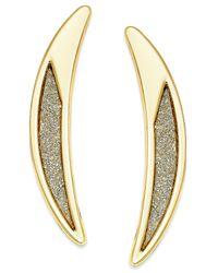 ABS By Allen Schwartz | Metallic Gold-tone Crescent Glitter Drop Earrings | Lyst