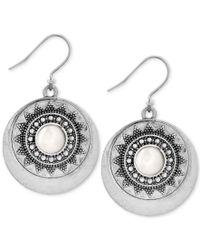Lucky Brand   Metallic Silver-tone Imitation Pearl Star Disc Drop Earrings   Lyst