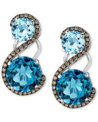 Le Vian   Blue Topaz (7-5/8 Ct. T.w.) And Diamond (3/8 Ct. T.w.) Drop Earrings In 14k White Gold   Lyst