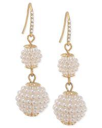 Carolee | Metallic Gold-tone Imitation Seed Pearl Double Drop Earrings | Lyst