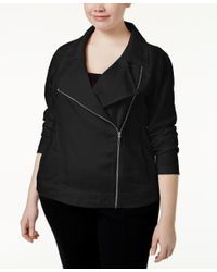 Calvin Klein - Black Performance Plus Size Moto Jacket - Lyst
