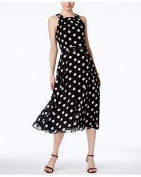 Tommy Hilfiger Black Belted Polka Dot Halter Midi Dress