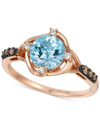 Le Vian | Blue Chocolatier Aquamarine (9/10 Ct. T.w.) And Diamond (1/8 Ct. T.w.) Ring In 14k Rose Gold | Lyst