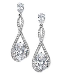 Danori - Metallic Silver-tone Looped Pave Center Crystal Drop Earrings - Lyst