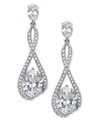Danori | Metallic Silver-tone Looped Pave Center Crystal Drop Earrings | Lyst