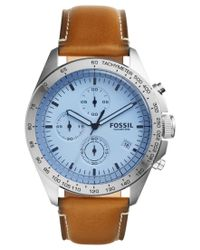 Fossil - Blue Men's Chronograph Sport 54 Light Brown Leather Strap Watch 44mm Ch3022 for Men - Lyst