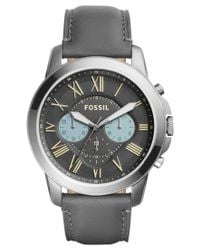Fossil - Men's Chronograph Grant Gray Leather Strap Watch 44mm Fs5183 for Men - Lyst