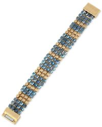 Kenneth Cole - Blue Gold-tone Beaded Woven Magnetic Clasp Bracelet - Lyst