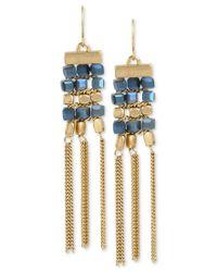 Kenneth Cole | Metallic Gold-tone Beaded Fringe Drop Earrings | Lyst
