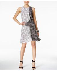 Vince Camuto - Black Printed Sleeveless Dress - Lyst