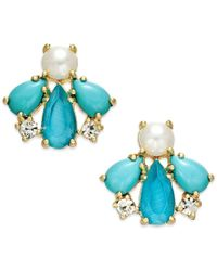 kate spade new york | 14k Gold-plated Blue Stone And Imitation Pearl Stud Earrings | Lyst