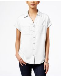Style & Co. | White Short-sleeve Denim Shirt, Only At Macy's | Lyst