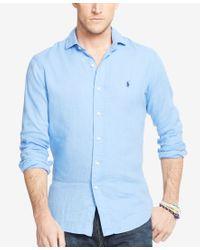 Polo Ralph Lauren - Blue Men's Big & Tall Linen Estate Shirt for Men - Lyst