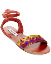 Steve Madden Red Women's Jewells Flat Sandals