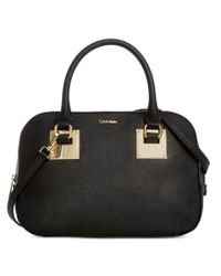 Calvin Klein   Black Saffiano Leather Convertible Satchel   Lyst
