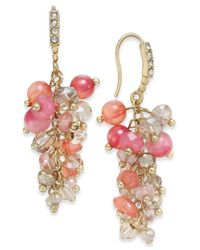 INC International Concepts Pink Gold-tone Mauve Stone And Crystal Cluster Drop Earrings