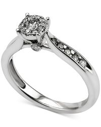 Macy's   Metallic Diamond Cluster Engagement Ring (3/8 Ct. T.w.) In 14k White Gold   Lyst