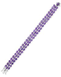 Macy's | Metallic Amethyst Three Row Link Bracelet (28 Ct. T.w.) In Sterling Silver | Lyst