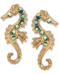 Betsey Johnson Metallic Gold-tone Crystal Enhanced Sea Horse Stud Earrings