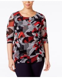 Alfani - Multicolor Plus Size Printed Tiered-mesh Top, Only At Macy's - Lyst