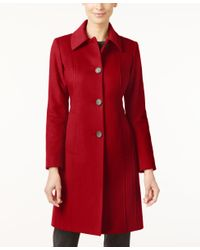 Anne Klein | Red Wool-cashmere-blend Walker Coat, Only At Macy's | Lyst