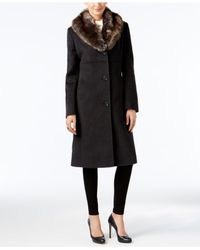 Jones New York | Black Petite Faux-fur-collar Walker Coat | Lyst