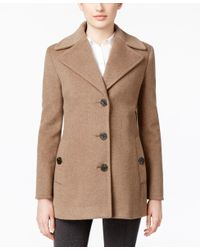 Calvin Klein | Natural Wool-cashmere Single-breasted Peacoat, Only At Macy's | Lyst