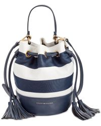 Tommy Hilfiger White Ribbon Rugby Small Bucket Bag