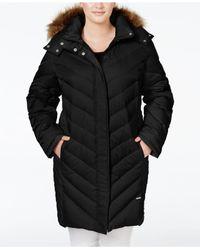Kenneth Cole | Black Plus Size Faux-fur-trim Chevron Quilted Down Puffer Coat | Lyst