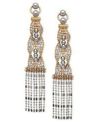 Macy's | Metallic Two-tone Beaded Dangle Drop Earrings In 14k Gold And White Gold | Lyst