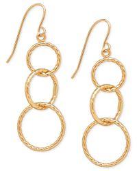 Macy's   Metallic Textured Triple Link Drop Earrings In 10k Gold   Lyst