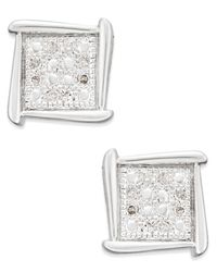 Macy's | Metallic Diamond Accent Square Stud Earrings In 10k White Gold | Lyst