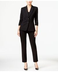 Tahari - Black Two-button Ruched-sleeve Pantsuit - Lyst