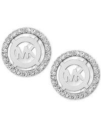 Michael Kors | Metallic Mother-of-pearl And Pavé Logo Stud Earrings | Lyst