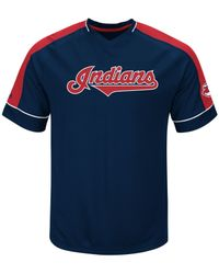 Majestic - Red Men's Cleveland Indians Lead Hitter T-shirt for Men - Lyst