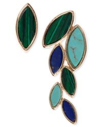 Anne Klein | Blue Gold-tone Multi-stone Stud And Ear Climber Earrings | Lyst