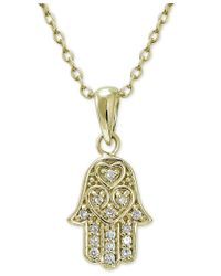 Giani Bernini - Metallic Cubic Zirconia Hamsa Pendant Necklace In 18k Gold-plated Sterling Silver, Only At Macy's - Lyst