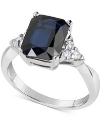 Macy's | Metallic Sapphire (3-1/5 Ct. T.w.) And Diamond (1/4 Ct. T.w.) Ring In 14k White Gold | Lyst