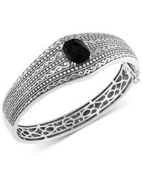 Effy Collection | Metallic Eclipse By Effy Onyx (4-9/10 Ct. T.w.) Decorative Hinged Bangle Bracelet In Sterling Silver | Lyst