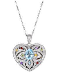 Macy's | Metallic Multi-gemstone (2 Ct. T.w.) And Diamond (1/10 Ct. T.w.) Filigree Locket Pendant Necklace In Sterling Silver | Lyst