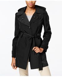 London Fog | Black Layered-collar Belted Trench Coat | Lyst