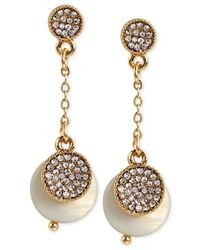 INC International Concepts | Metallic M. Haskell For Inc White Pave Chain Drop Earrings, Only At Macy's | Lyst