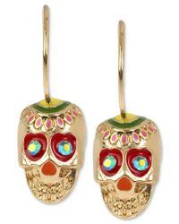 Betsey Johnson | Metallic Gold-tone Fancy Enamel Skull Drop Earrings | Lyst