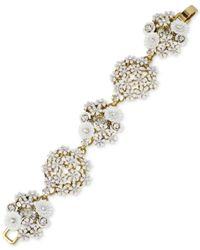 Betsey Johnson | Metallic Gold-tone Flower Bouquet Link Bracelet | Lyst