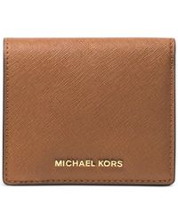 Michael Kors | Brown Michael Jet Set Travel Carryall Card Case | Lyst