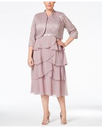 R & M Richards Pink Plus Size Lace Tiered Dress And Jacket