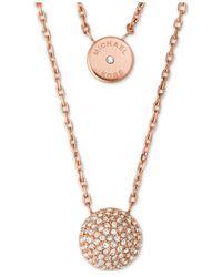 Michael Kors | Metallic Two Layer Double Pendant Necklace | Lyst