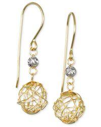 Macy's | Metallic Wire Bead And Crystal Drop Earrings In 10k Gold | Lyst
