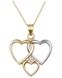 Macy's   Metallic Diamond Accent Tri-tone Triple Heart Pendant Necklace In 10k Yellow, White And Rose Gold   Lyst